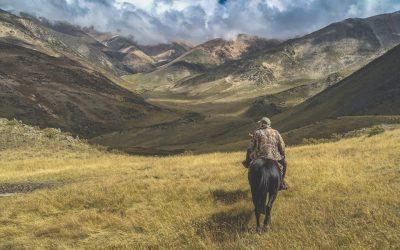 Man Riding Horse on Grass Near Mountains
