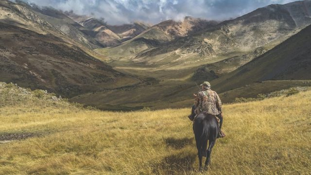 Man Riding Horse on Grass Near Mountains